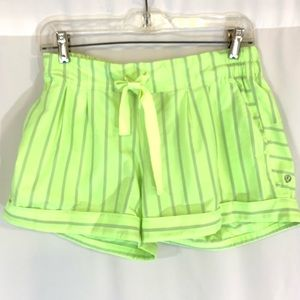 LULULEMON Neon Green Striped Shorts Cuffed